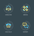 consulting service cold calls support set of 4 vector image