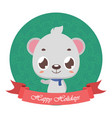 cute adorable polar bear and banner with festive vector image