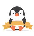 cute bapenguin fat banner vector image vector image