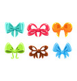 cute glossy bows of different colors user vector image