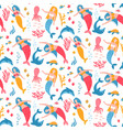 cute seamless pattern with adult mermaids vector image