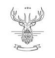 deer head linear sketch for tattoo vector image