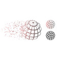disintegrating pixel halftone abstract sphere grid vector image vector image