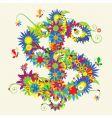 dollar sign floral design vector image