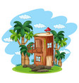 enchanted wooden house in nature vector image vector image