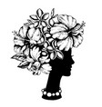 female head and tropical flowers vector image vector image