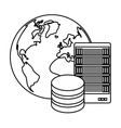 figure global database server banner icon vector image vector image