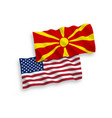 flags north macedonia and america on a white vector image