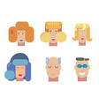 flat characters portrait set vector image vector image