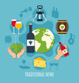 flat wine concept vector image