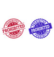 grunge scratched prohibited stamp seals vector image