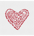 hand drawn heart on transparent background vector image