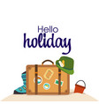 hello holiday baggage hat beach background vector image vector image