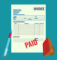 invoice bill with red paid stamp close-up vector image vector image