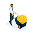 isometric businessman carrying large gold coins cr vector image
