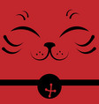 japanese beckoning cat face vector image vector image
