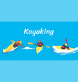 kayaking set vector image vector image