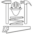 line art black and white 5 handyman tools set vector image