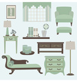 Living room furniture and accessory in green teal vector image vector image