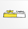 loading bar with paper boat and sea waves summer vector image vector image