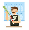 male bartender pouring wine for customer in the vector image