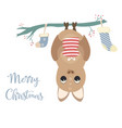 merry christmas card with cute bat vector image