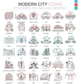 Modern city color flat line outline icons vector image vector image