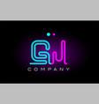 neon lights alphabet gj g j letter logo icon vector image vector image