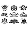 paintball badges sport shields with gun paint vector image vector image