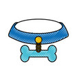 pet collar with bone icon vector image vector image
