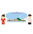 philippines landmarks people traditional clothing vector image vector image