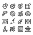 pizza line icon set vector image