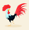 proud red rooster with beautiful lush tail and vector image