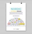 scandinavian furniture line style vector image vector image