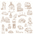 Scrapbook Design Elements - Small Town Doodles vector image vector image