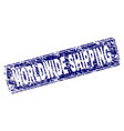 scratched worldwide shipping framed rounded vector image vector image