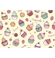 Seamless background with cupcakes pattern vector image vector image