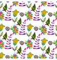 Seamless multicolored retro flower pattern vector image vector image