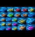 set of neon glowing abstract backgrounds bright vector image