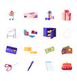 set shopping trolley with gift box discount vector image vector image
