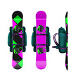 snowboards with bindings and backpack vector image vector image