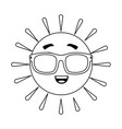 summer sun happy with sunglasses kawaii character vector image vector image