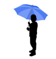 toddler holding umbrella silhouette vector image vector image