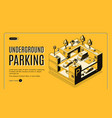 underground parking isometric website vector image vector image