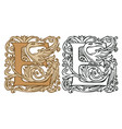 vintage initial letter e with baroque decoration vector image vector image