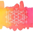 Watercolor and Geometry Background vector image vector image