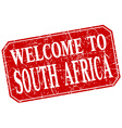 welcome to South Africa red square grunge stamp vector image vector image