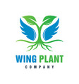winged angel plant logo design vector image vector image