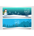 winter sale banners with snowman and village vector image