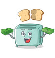 with money toaster character cartoon style vector image vector image